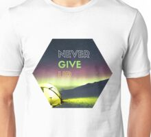 Never Give Up, caption on mountain view photograph Unisex T-Shirt
