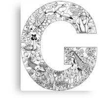 Animal Alphabet Letter G Canvas Print