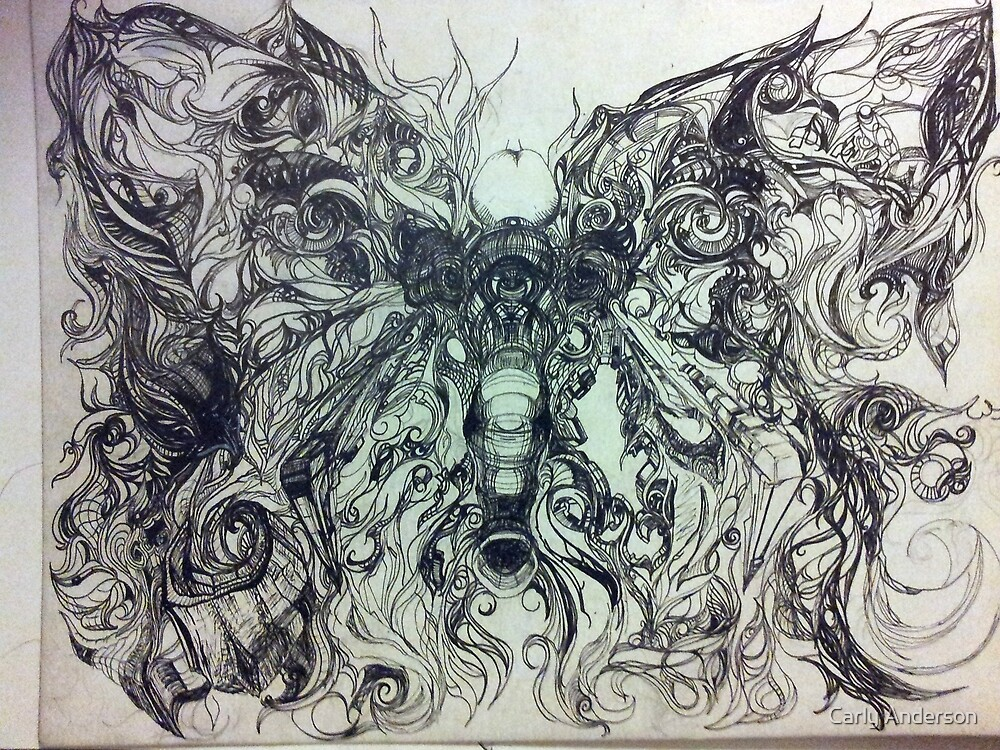 Intricate Butterfly-Elephant by Carly Anderson