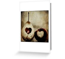 apple and pear hearts Greeting Card
