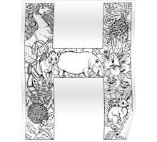 Animal Alphabet Letter H Poster