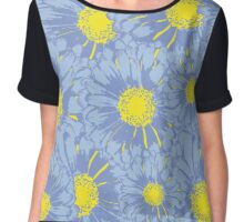Daisy Flowers, Petals, Blossoms - Blue Yellow Chiffon Top