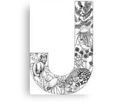 Animal Alphabet Letter J Canvas Print