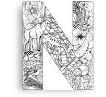Animal Alphabet Letter N Canvas Print