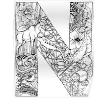 Animal Alphabet Letter N Poster