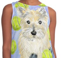 Miss Caroline the Cairn Terrier is Obsessed About Fetching Tennis Balls Contrast Tank