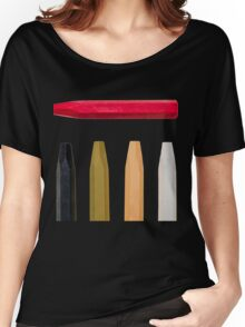 Oil Crayons with Bright Colors Red Pink Brown white and Black Women's Relaxed Fit T-Shirt