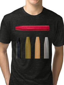 Oil Crayons with Bright Colors Red Pink Brown white and Black Tri-blend T-Shirt
