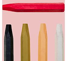 Oil Crayons with Bright Colors Red Pink Brown white and Black Photographic Print