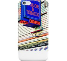 Red White and Blue Neon Liquor Store Sign iPhone Case/Skin