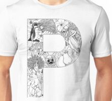 Animal Alphabet Letter P Unisex T-Shirt