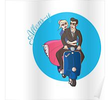 Rose and The Doctor Riding a Vespa Poster