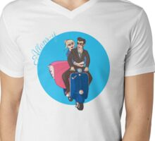 Rose and The Doctor Riding a Vespa Mens V-Neck T-Shirt