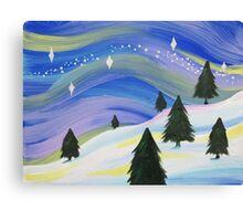 Whimsical Winter Scene Acrylic Painting Canvas Print
