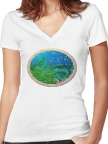 Green Sea Dragon Women's Fitted V-Neck T-Shirt