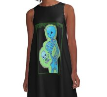 Masculine Skele-Mom and Baby A-Line Dress