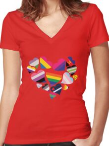ALL PRIDE Heart Women's Fitted V-Neck T-Shirt