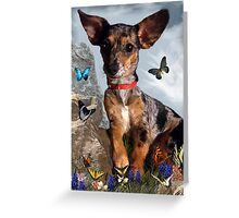 The Butterflies And The Little Bat Eared Puppy Greeting Card