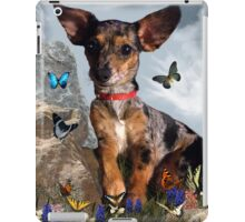 The Butterflies And The Little Bat Eared Puppy iPad Case/Skin