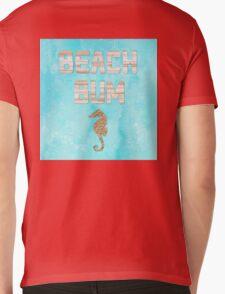 Beach Bum beach house sign, sand seahorse, wood words Mens V-Neck T-Shirt