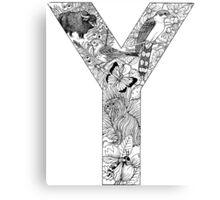 Animal Alphabet Letter Y Canvas Print