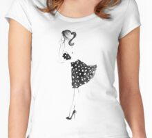 Polka Dot Women's Fitted Scoop T-Shirt