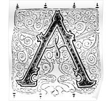 Baroque Alphabet Letter A Poster