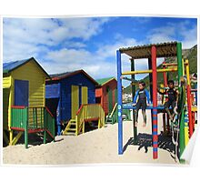 Rainbow beach huts and surfer boys Poster