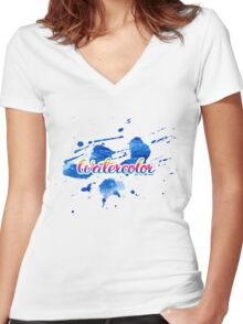 Blue blots of watercolor Women's Fitted V-Neck T-Shirt