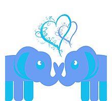 Elephant Love Blues Photographic Print