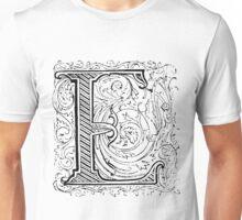 Baroque Alphabet Letter E Unisex T-Shirt