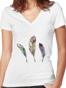 Watercolor Quill design Women's Fitted V-Neck T-Shirt