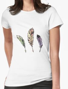 Watercolor Quill design Womens Fitted T-Shirt