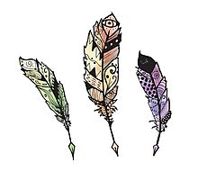 Watercolor Quill design Photographic Print