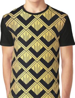 Art deco,gold,black,chic,elegant,1020's,great the Gatsby,pattern,retro,vintage, beautiful,fan,shaped,decor,decorative,contemporary,style,stylish Graphic T-Shirt