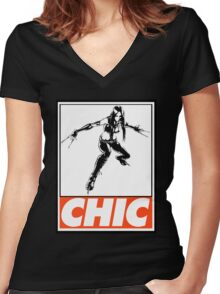 X-23 Chic Obey Design Women's Fitted V-Neck T-Shirt