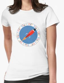 Blast Off Rocket Ship Womens Fitted T-Shirt
