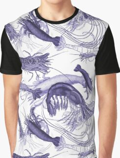 Blue Vintage Shrimp Engravings Graphic T-Shirt