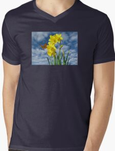 Copper Butterfly with Daffodils  Mens V-Neck T-Shirt