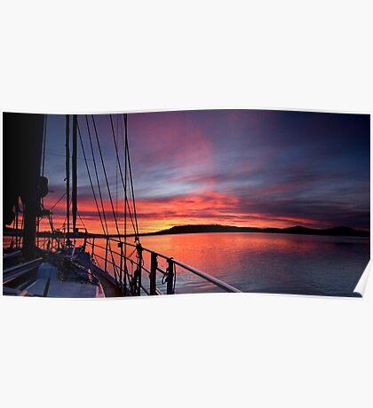 Crimson Sunrise waterscape image Poster