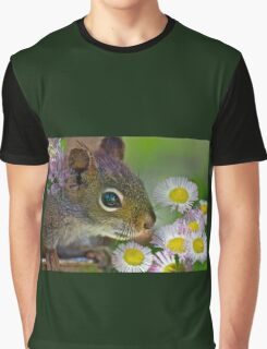 Flowers and Squirrel Graphic T-Shirt