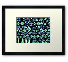 VividScene: Blue Green Diamond Night Music Framed Print