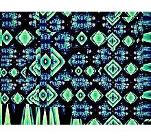 Tribal Blue Green Diamond Night Music. VividScene Photographic Print