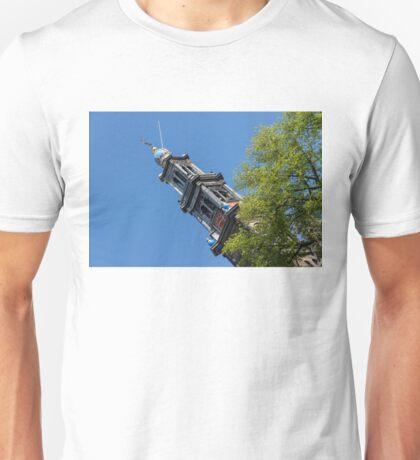 Amsterdam Spring - Blue Crown Westerkerk Bell Tower Above the Trees Unisex T-Shirt