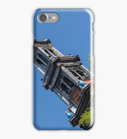 Amsterdam Spring - Blue Crown Westerkerk Bell Tower Above the Trees iPhone Case/Skin