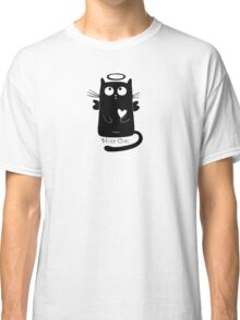 Cute Black Cartoon Cat Angel with Heart Holy Chic Classic T-Shirt