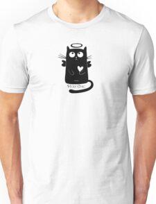 Cute Black Cartoon Cat Angel with Heart Holy Chic Unisex T-Shirt