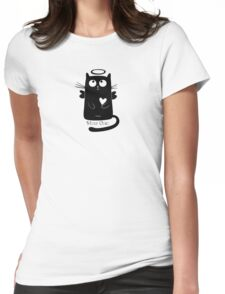Cute Black Cartoon Cat Angel with Heart Holy Chic Womens Fitted T-Shirt