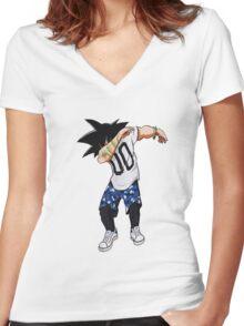goku dab on em Women's Fitted V-Neck T-Shirt