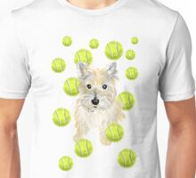 Miss Caroline the Cairn Terrier is Obsessed About Fetching Tennis Balls Unisex T-Shirt